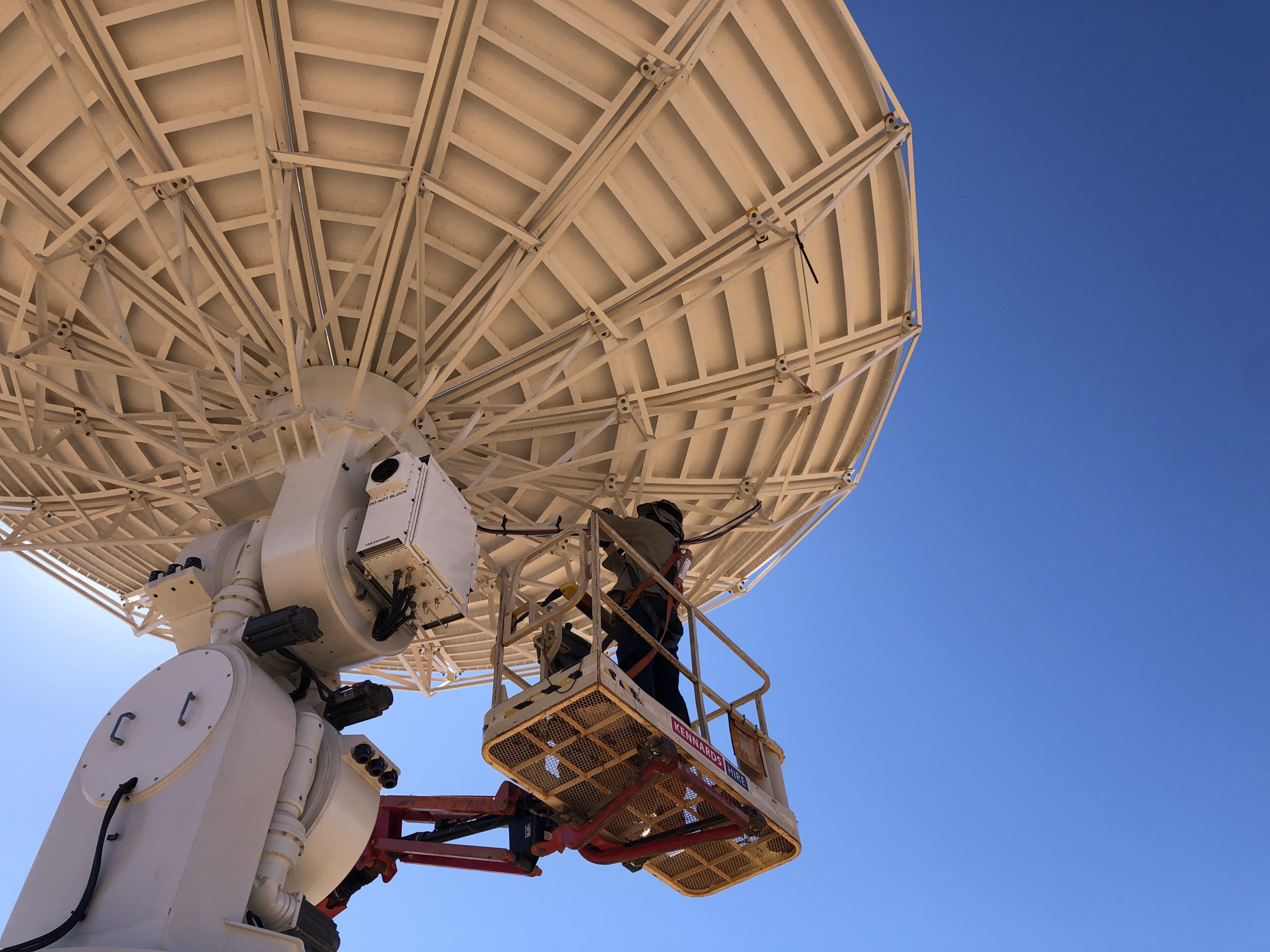 A looking up shot of a satellite dish