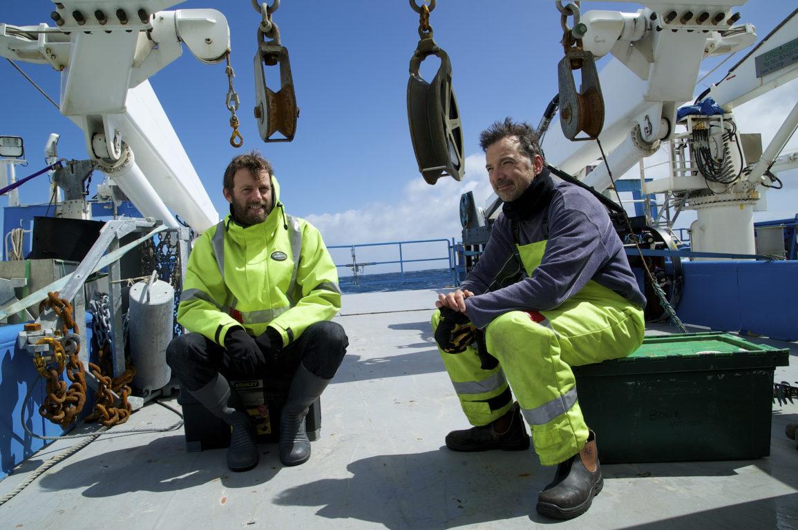 Two scientists on RV Investigator