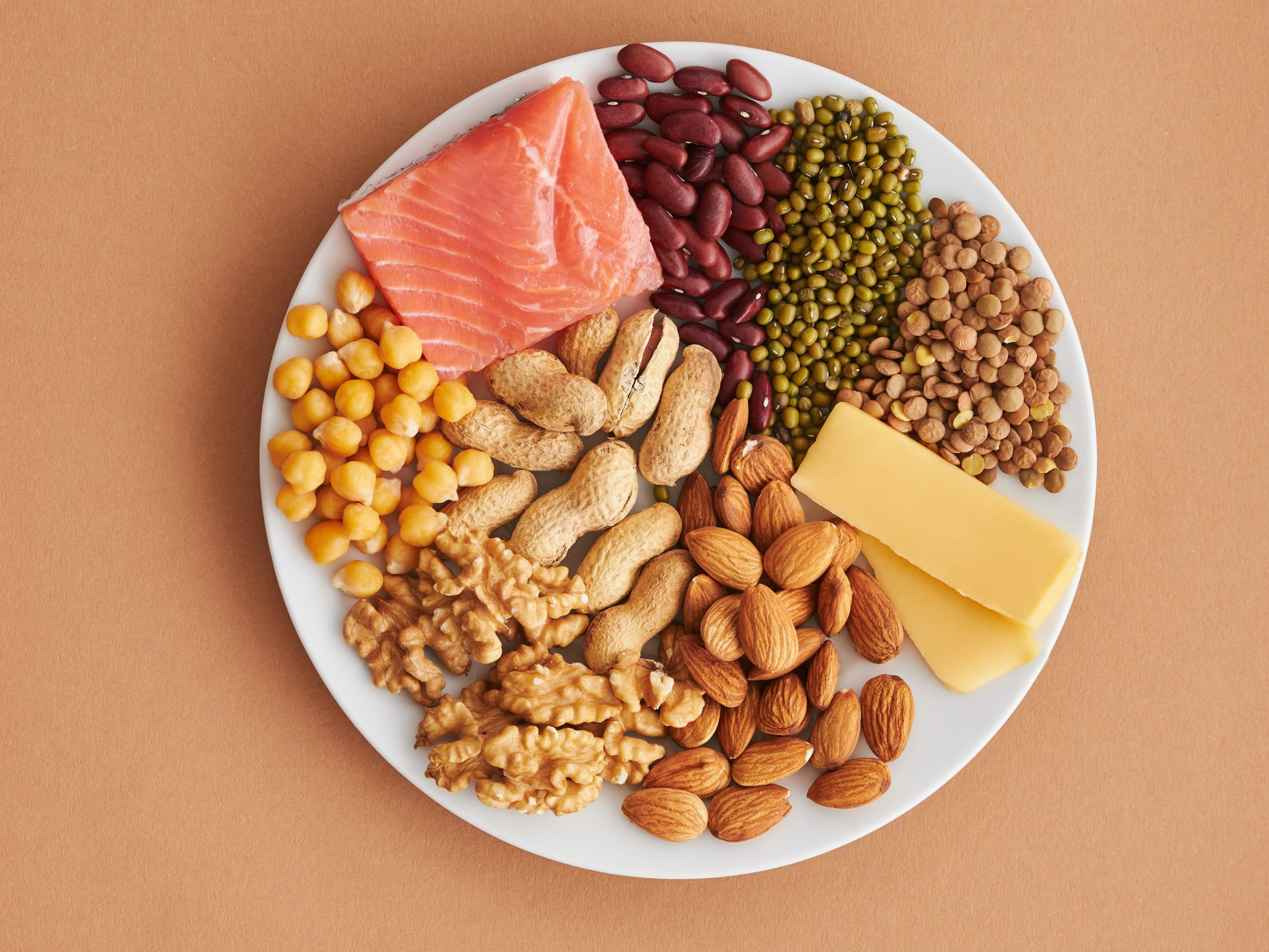 An image of a plate of different types of foods.