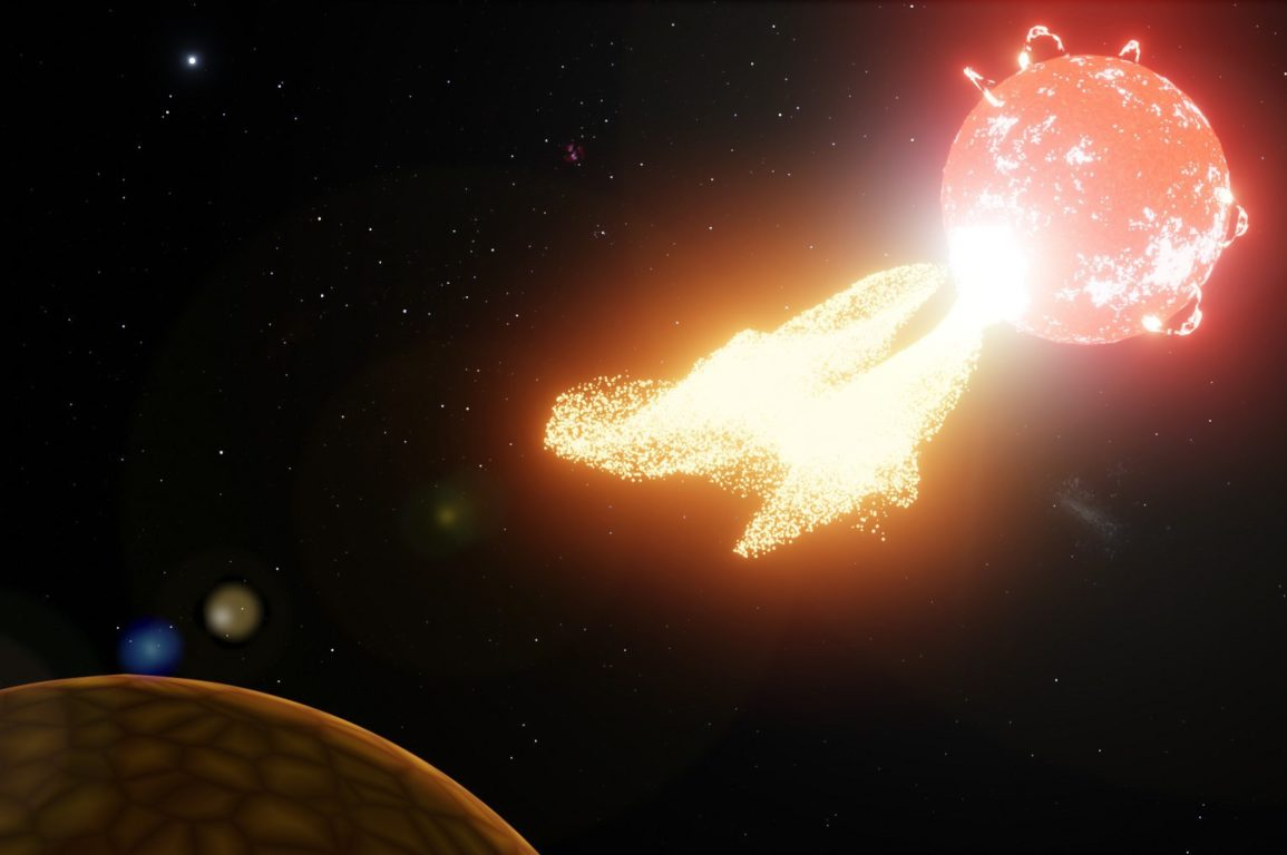 An illustration of a star shooting out hot gases into space.