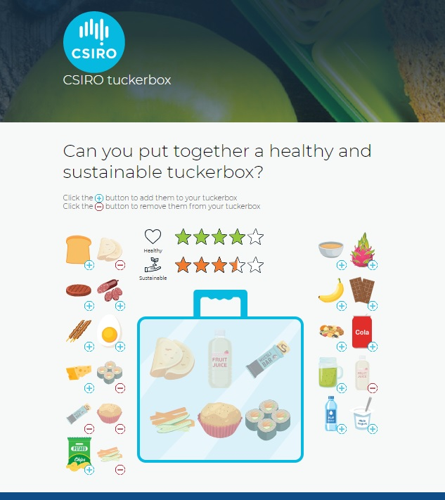 A screenshot of the CSIRO Tuckerbox interface showing food and their ratings for health and sustainability