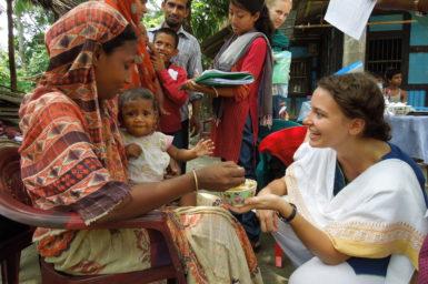 Jessica Bogard meeting mothers in Bangladesh