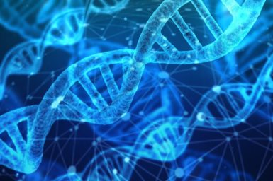DNA helixes against a blue background