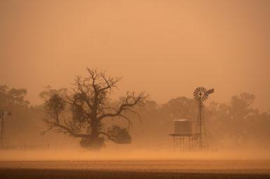 A dust storm going through a farm