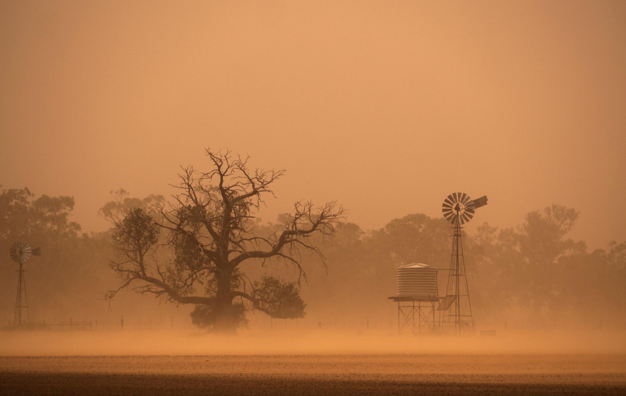 A dust storm going through a farm in drought Australia
