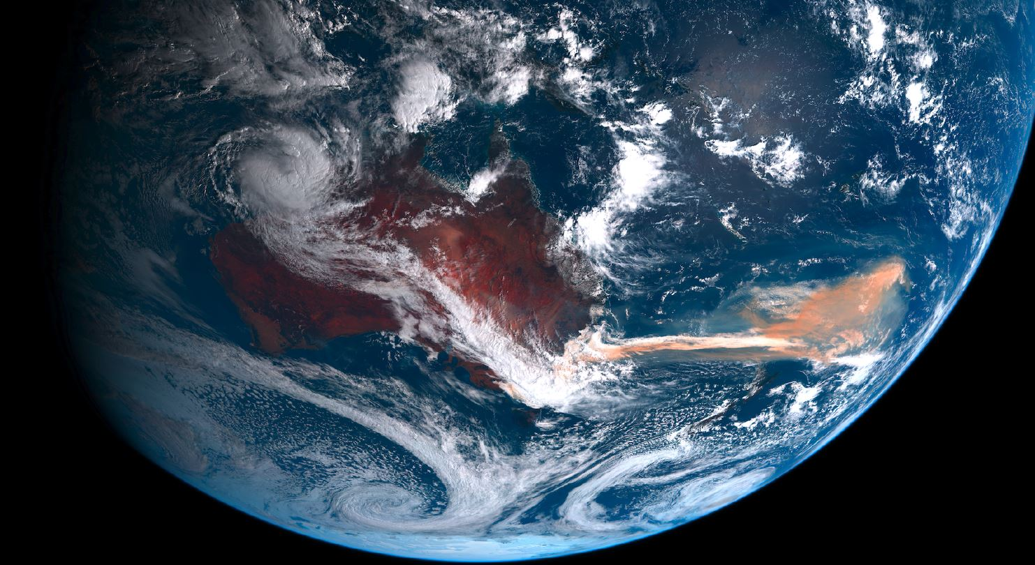 View of Earth from space at the time of the Australian bushfires of summer 2019-20.