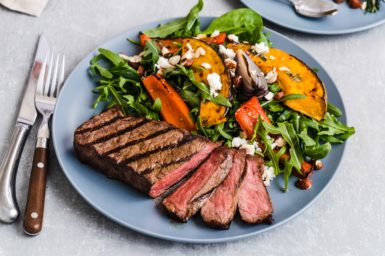 Meat and salad on a plate