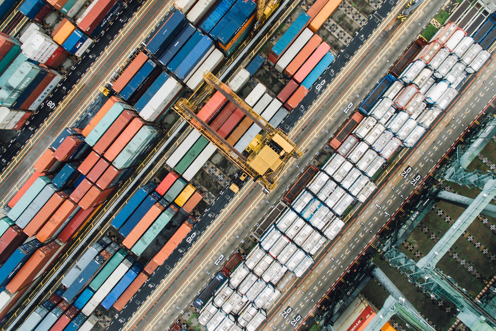 Drone shot of shipping containers
