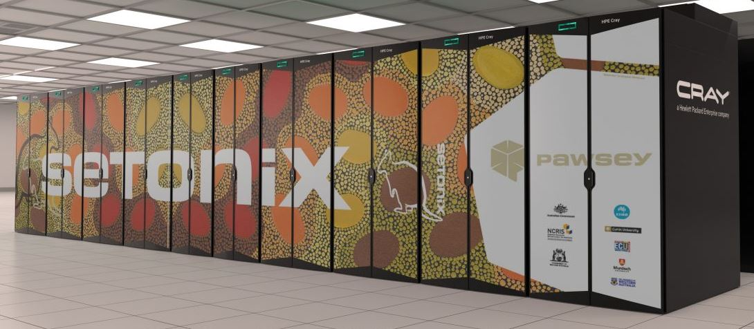 A large supercomputer featuring artwork by Margaret Whitehurst.